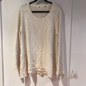 Cream Sweater with Lace Hem and Sleeve